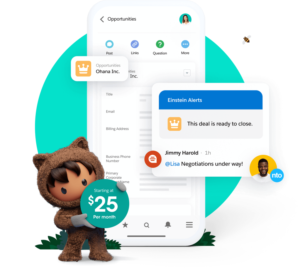 A Sales Cloud screen showing a team chat and deal alert starting at 25 dollars per month.