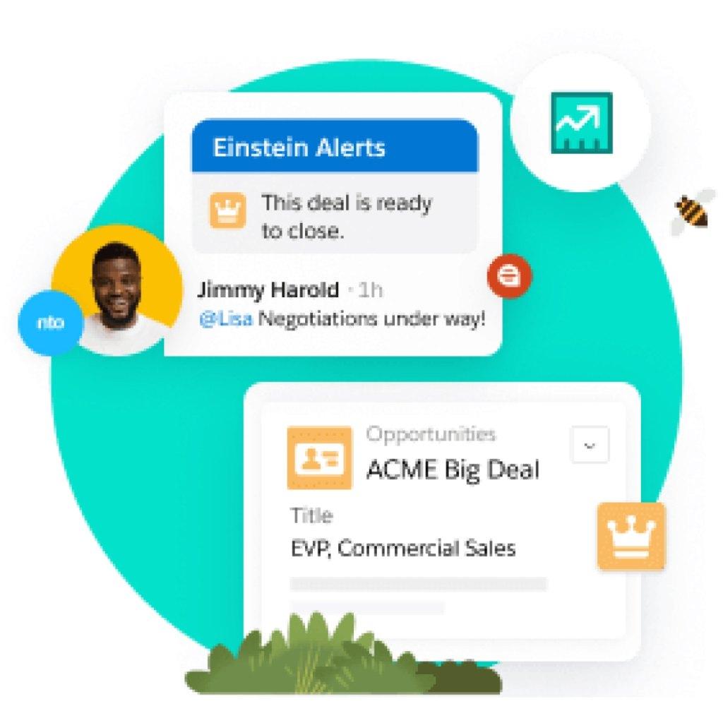 Sales Cloud demo screens.