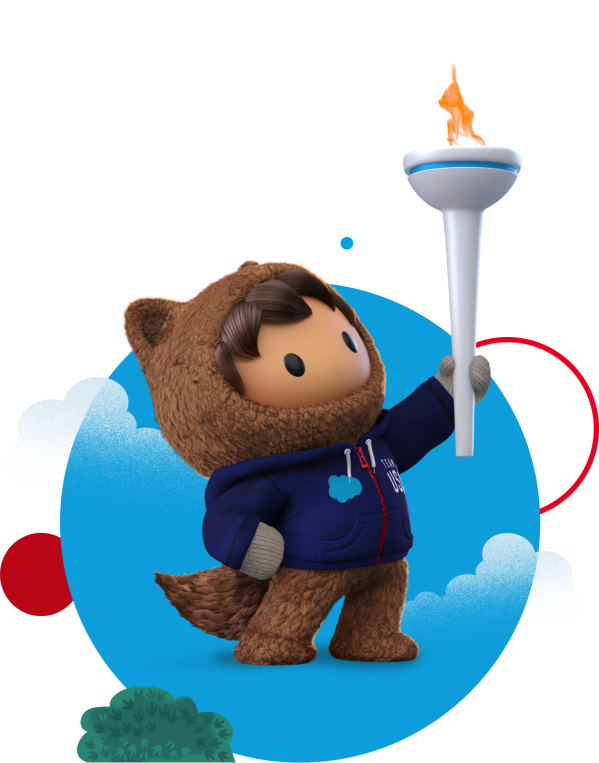 Astro, a Salesforce mascot holding a torch